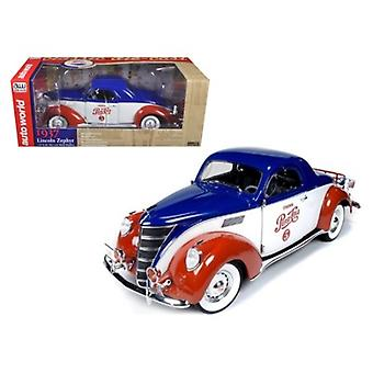 1937 Lincoln Zephyr Coupe \Pepsi Cola\ Limited to 1500pc 1/18 Diecast Model Car by Autoworld
