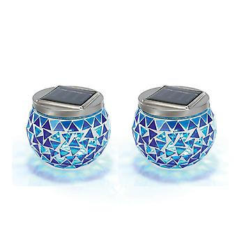 2 x Solar Powered Garden Lantern Lights Glass Mosaic Effect Blue Jar Lamp Lawn LED