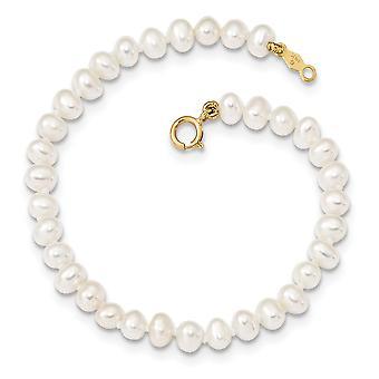 14k pro chlapce nebo dívky 3 4mm Bílá sladkovodní kultivovaný perleťový náramek 6 palců