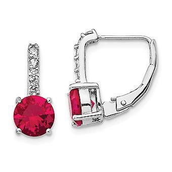 Cheryl M 925 Plata de Ley CZ Zirconia Cúbica Diamante Simulado y Laboratorio Creado Ruby Leverback Pendientes Medidas 14.65x