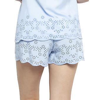 Cyberjammies 4403 Women's Olivia Blue Modal Embroidered Pyjama Short