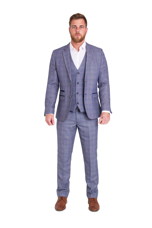 Marc Darcy Harry Check Tweed Suit Blazer With Velvet Contrast