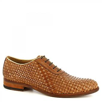 Leonardo Shoes Men's handmade elegant oxford shoes in tan woven calf leather
