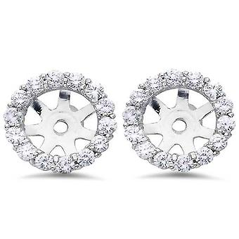 7/8ct Diamond Halo Stud Earring Jackets Solid 14K White Gold (6-6.7mm)