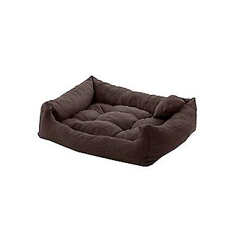 Mascota Klub Chocolate 75cm x 65cm Gran Tamaño Espuma Crumb Filled Tufted Dog Bed in Textured Linen Feel Fabric