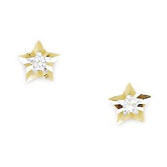 14k צהוב זהב CZ מעוקב היהלומים מדומה כוכב בורג בחזרה עגילים מדדים 6x6mm תכשיטים מתנות עבור Wome
