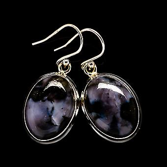 "Gabbro Stone Earrings 1 3/8"" (925 Sterling Silver)  - Handmade Boho Vintage Jewelry EARR399248"