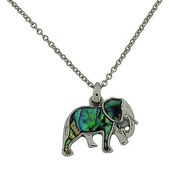 The Olivia Collection Elephant Green Paua Shell Pendant 16