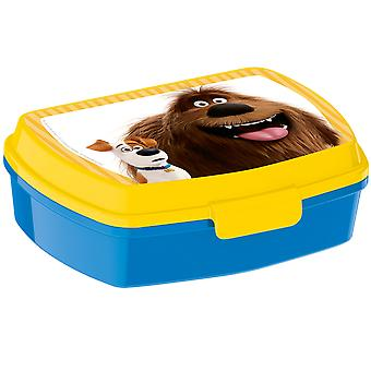 THE SECRET LIFE OF PETS Children's plastic bread tin with top yellow blue