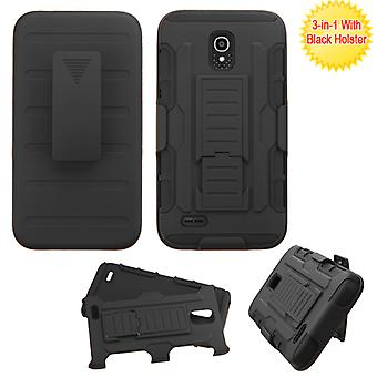 ASMYNA Advanced Armor Stand Case with Holster for OneTouch Conquest - Black/Black