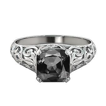2.00 CT schwarzer Diamant Ring 14K Weissgold Vintage Art-Deco-Rebe