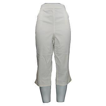 Mujeres's Pantalones Pull On Stretch Capri White A288103