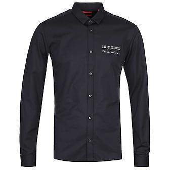 HUGO Ero3-W Extra Slim Fit Long Sleeve Black Shirt