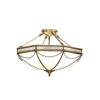 Russel Semi-ceiling Light, 62 Cm, Antique Brass And Frosted Glass, 8 Bulbs