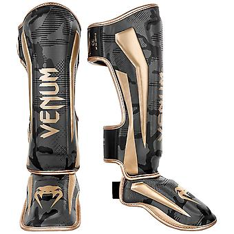 Venum Elite Shin Guards Dark Camo/Gold