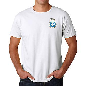 HMS Lindisfarne geborduurd Logo - officiële Koninklijke Marine Ringspun katoen T Shirt