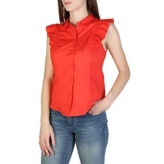 Woman cotton sleeveless shirt round t-shirt top ae91735