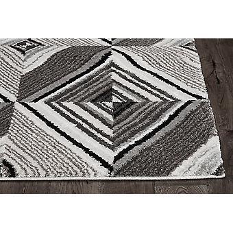 8' Grey Mocha Machine Woven Geometric Illusion Indoor Runner Rug