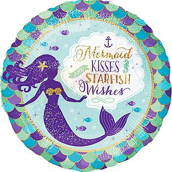 Anagram Mermaid Kisses And Starfish Wishes Round Foil Balloon