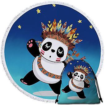 Native American Panda  Beach Towel