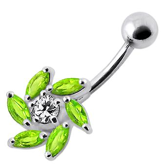 Jeweled Swirl Silver Belly Bar Body Jewelry