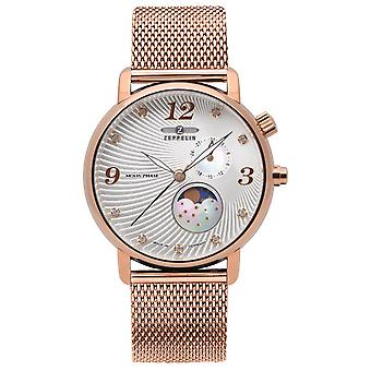Zeppelin moon moon phase Swiss Quartz Analog Woman Watch with 7639M-4 Gold Plated Stainless Steel Bracelet
