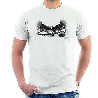 Citroen DS bleknet effekt Paris Arc De Triomphe menn t-skjorte