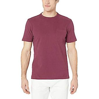 Goodthreads Men's Short-Sleeve Sueded Jersey Crewneck Pocket T-Shirt, Burgund...