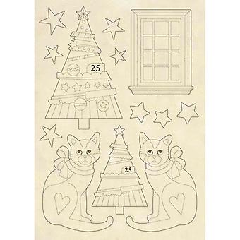 Wooden Shape A5 Trees & Cats (KLSP062)