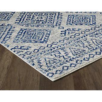 7' Ivory Blue Machine Woven Distressed Geometric Indoor Runner Rug