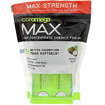 Coromega, Max, High Concentrate Omega-3 Fish Oil, Coconut Bliss, 60 Squeeze Shot