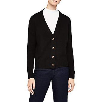 Meraki Women's Boxy V-Neck Cardigan Sweater, Black, EU L (US 10)