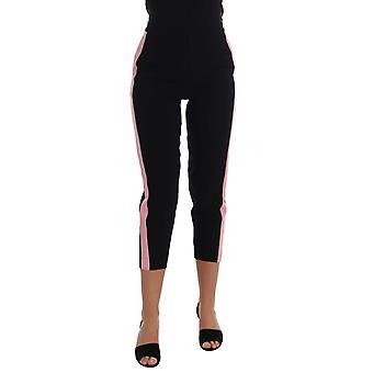 Dolce & Gabbana Siyah Stretch Pembe Çizgili Capri Pantolon BYX1221-1