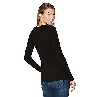 Brand - Lark & Ro Women's Long Sleeve Crewneck Shirt, Black, X-Large