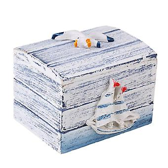 Blue and White Wooden Jewelry Mediterranean Storage Box
