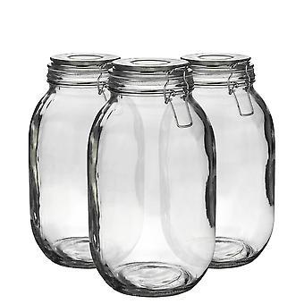 Argon Geschirr Glas Aufbewahrung Sandgläser mit luftdichten Clip Deckel - 3 Liter Set - klare Dichtung - Packung mit 6
