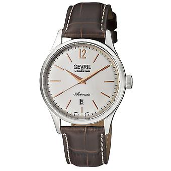 Gevril Men's 4258A Five Points Automatic Brown Leather Date Polshorloge