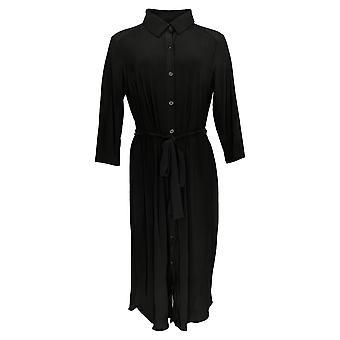 Nina Leonard Dress 3/4-Sleeve Belted Button-Down Shirt Black 703-532