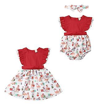 Newborn Kids Baby Sleeveless Romper Dress, Christmas Clothing