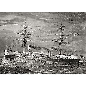 本独自の雑誌からイギリス海軍の Hms 柔軟性のインヴィンシブル級巡洋戦艦公開 1885 PosterPrint
