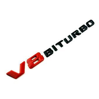 Gloss Red/Black Mercedes Benz Rear Fender Front Grill Bonnet Badge Emblem Boot For V8 Biturbo
