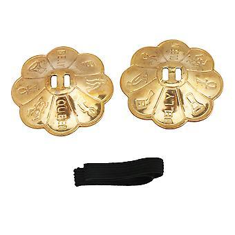 2x Belly Dance Zills Dancewear Decoration Finger Cymbals Gold Plum-shape