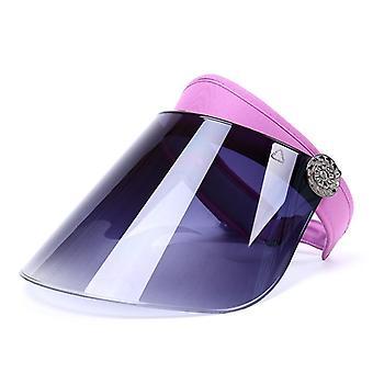 Nők Anti-UV Lens Hat - Alkalmi nyári szabad forgó üres felső műanyag vizor