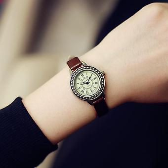 Ladies Designer Vintage Leather Bracelet  Brown Retro Roma Quartz Wristwatches