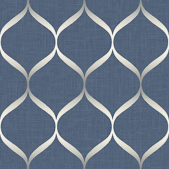 Pear Tree Trellis Blue Silver