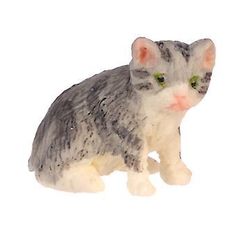 Dolls House Grey Kitten Sitting Falcon Miniature Pet Cat 1:12 Scale