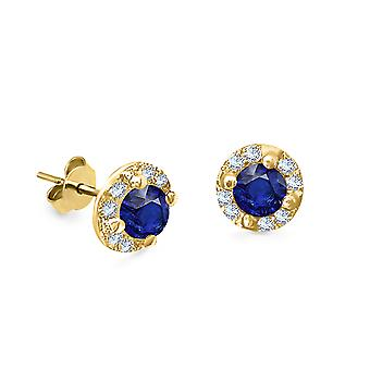 Earrings Blossom 18K Gold and Diamonds, Precious Stone Ruby | Emerald | Sapphire