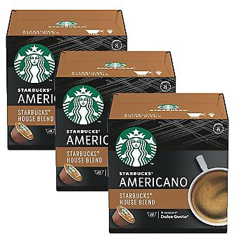3 x 12 pods Starbucks Americano Medium Roast Ground Arabica Coffee Toffee Hot Drink