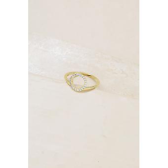 Einfache Kreis Kristall 18k vergoldet Ring
