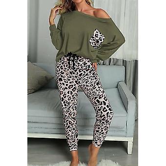 Womens Long Sleeve Leopard Pants And Top, Loungewear Set